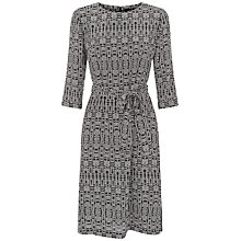 Buy Jaeger Silk Aztec Print Belted Dress, Black/Cream Online at johnlewis.com