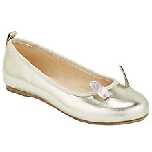 Buy John Lewis Children's Bunny Ear Pumps, Gold Online at johnlewis.com