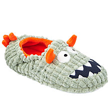 Buy John Lewis Children's Monster Textured Closed Back Slippers, Grey Online at johnlewis.com