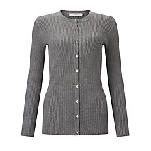 Buy John Lewis Rib Stitch Crew Neck Cardigan Online at johnlewis.com