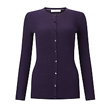 Buy John Lewis Rib Stitch Crew Neck Cardigan, Purle Online at johnlewis.com