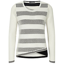 Buy Oui Two Layer Stripe Jumper, White/Grey Online at johnlewis.com