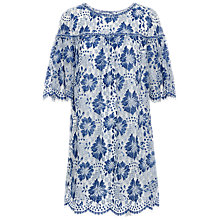 Buy Max Studio Floral Lace Dress, Blue/Off White Online at johnlewis.com