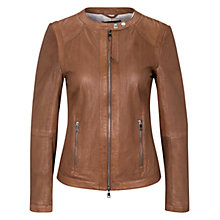 Buy Oui Openwork Leather Jacket, Toffee Online at johnlewis.com