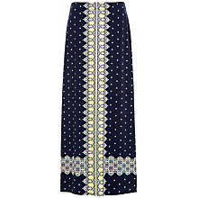 Buy Max Studio Printed Jersey Maxi Skirt, Navy/Pineapple Online at johnlewis.com