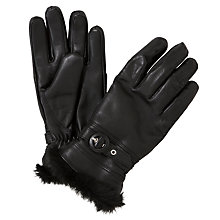 Buy John Lewis Faux Fur Trim Buckle Leather Gloves, Black Online at johnlewis.com