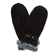 Buy John Lewis Suede Faux Fur Trim Mittens, Black Online at johnlewis.com
