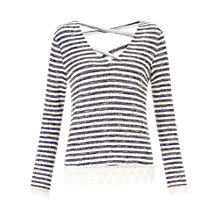 Buy Miss Selfridge Striped Crochet Hem Top, Blue/Multi Online at johnlewis.com
