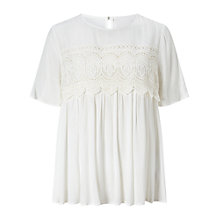 Buy Miss Selfridge Lace Overlay T-Shirt, Ivory Online at johnlewis.com