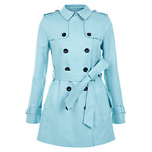 Buy Hobbs Sara Double Breasted Mac, Kingfisher Blue Online at johnlewis.com