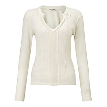 Buy Miss Selfridge Rib Crochet Top, Cream Online at johnlewis.com