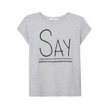 Buy Mango Embroidered Message Cotton-Blend T-Shirt, Medium Grey Online at johnlewis.com
