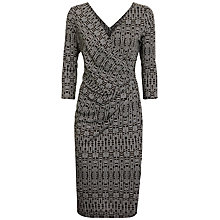 Buy Jaeger Aztec Print Wrap Dress,Black/Cream Online at johnlewis.com