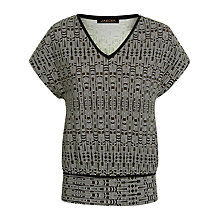 Buy Jaeger Aztec Print Zip Detail T-Shirt, Black/Cream Online at johnlewis.com