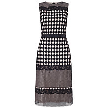 Buy Miss Selfridge Geometric Lace Midi Dress, Black Online at johnlewis.com