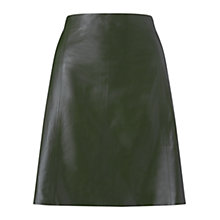 Buy Jigsaw A-Line Leather Skirt, Khaki Online at johnlewis.com