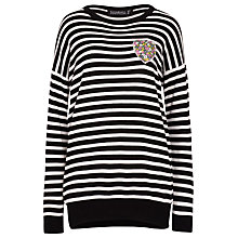 Buy Sugarhill Boutique Gertrud Stripe Jumper With Heart Applique, Black/White Online at johnlewis.com