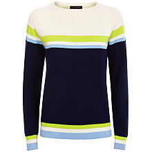 Buy Jaeger Wool Striped Sweater, Blue/Multi Online at johnlewis.com