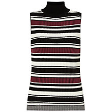 Buy Miss Selfridge Stripe Knit Rib Top, Burgundy Online at johnlewis.com