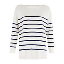Buy Hobbs Striped Riley Jumper, Ivory/Blue Online at johnlewis.com