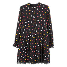 Buy Mango Printed Flared Dress, Black Online at johnlewis.com