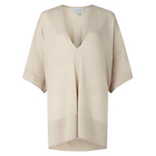 Buy Jigsaw Merino Slouchy V Neck Jumper, French Clay Online at johnlewis.com