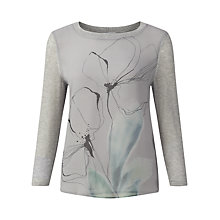 Buy Jigsaw Silk Front Floral Jumper, Mel Grey Online at johnlewis.com