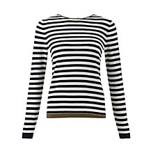 Buy Jigsaw Tipped Striped Merino Jumper, Navy Online at johnlewis.com