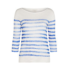 Buy Denim Wardrobe by Trilogy Jagged Stripe Linen Top, White/Blue Online at johnlewis.com