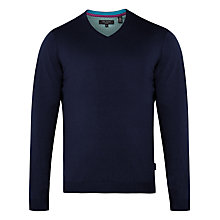 Buy Ted Baker Ninvin Silk Blend V-Neck Jumper, Navy Online at johnlewis.com
