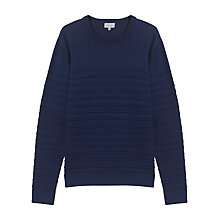 Buy Jigsaw Ottoman Stripe Crew Sweater, Indigo Online at johnlewis.com