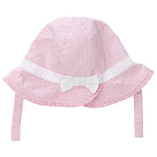 Buy John Lewis Baby Seersucker Bow Hat, Pink Online at johnlewis.com