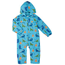 Buy John Lewis Dinosaur Print Puddlesuit, Blue Online at johnlewis.com