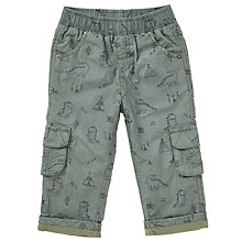Buy John Lewis Baby Dinosaur Poplin Trousers, Khaki Online at johnlewis.com