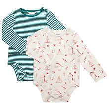Buy John Lewis Baby Jersey Dinosaur Stripe Bodysuits, Pack of 2, Cream/Green Online at johnlewis.com