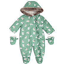 Buy John Lewis Baby Bunny Print Snowsuit, Green Online at johnlewis.com