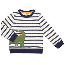Buy John Lewis Baby Stripe Dinosaur Sweatshirt, Blue Online at johnlewis.com