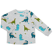 Buy John Lewis Baby Dinosaur Print Sweatshirt, Grey Online at johnlewis.com
