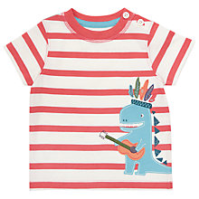 Buy John Lewis Baby Stripe Guitar Dinosaur T-Shirt, Red/White Online at johnlewis.com