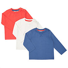 Buy John Lewis Baby Long Sleeve T-Shirt, Pack of 3, Red/White/Blue Online at johnlewis.com