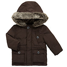 Buy John Lewis Baby Hooded Wadded Jacket, Brown Online at johnlewis.com