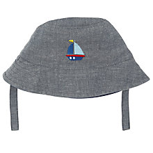 Buy John Lewis Baby Embroidered Boat Hat, Blue Online at johnlewis.com