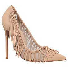 Buy Kurt Geiger Saffron Fringed Stiletto Heeled Court Shoes, Nude Online at johnlewis.com