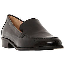 Buy Dune Garran Low Block Heeled Loafers, Black Patent Online at johnlewis.com