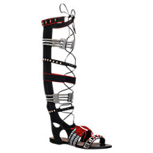 Buy Kurt Geiger Dakota Knee High Sandals, Black/Red Leather Online at johnlewis.com