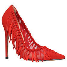 Buy Kurt Geiger Saffron Tassel Detail Court Shoes, Red Suede Online at johnlewis.com
