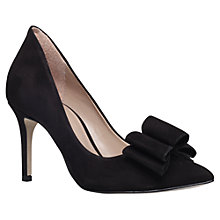 Buy KG by Kurt Geiger Belle Bow Stiletto Heeled Court Shoes, Black Suede Online at johnlewis.com