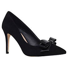 Buy Miss KG Ivanna Bow Stiletto Court Shoes, Black Suedette Online at johnlewis.com