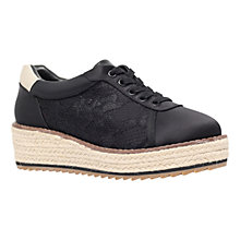 Buy KG by Kurt Geiger Lush Flatform Trainers, Black Satin Online at johnlewis.com