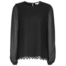Buy Reiss Villa Lace Body Blouse, Black Online at johnlewis.com